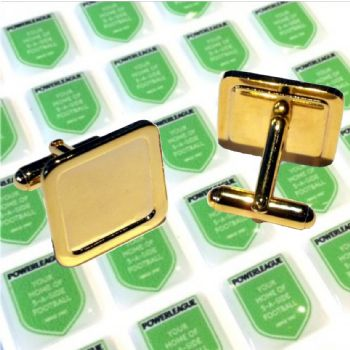 Cufflink Pair Square 16mm gold and printed domes